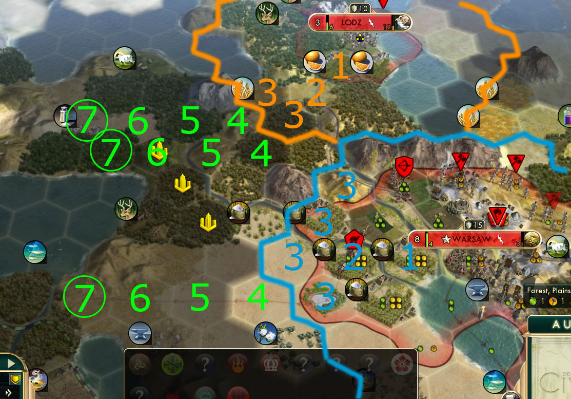 civ v brave new world city placement counting to prevent tile overlap when building a new city