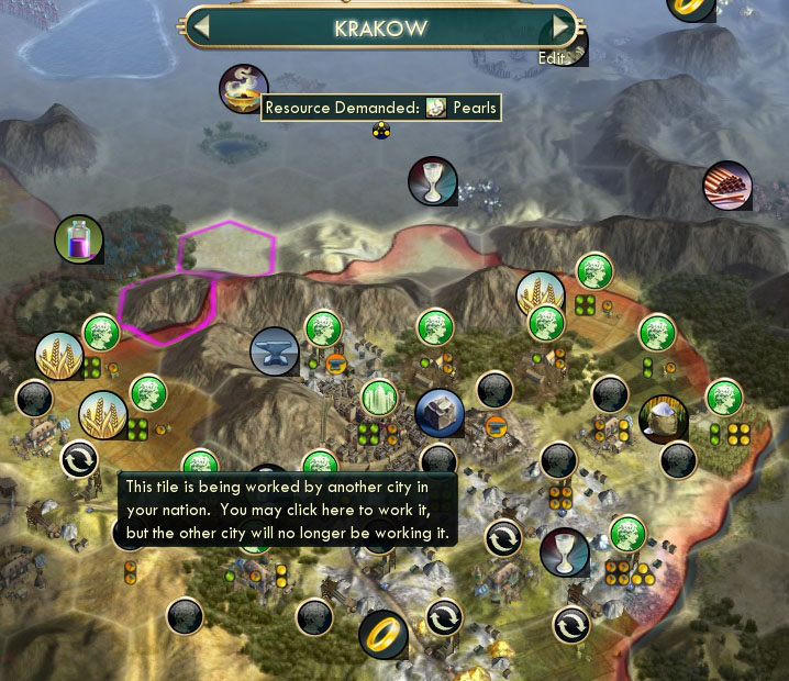 civ v brave new world city placement tile in use by another city in your nation