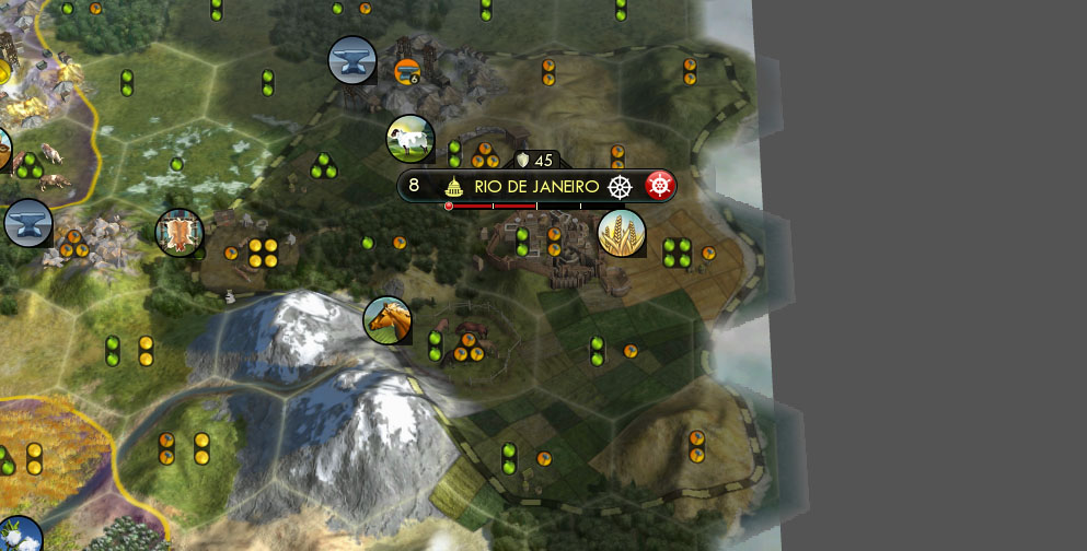 This Civilization V city is build near the edge of the map