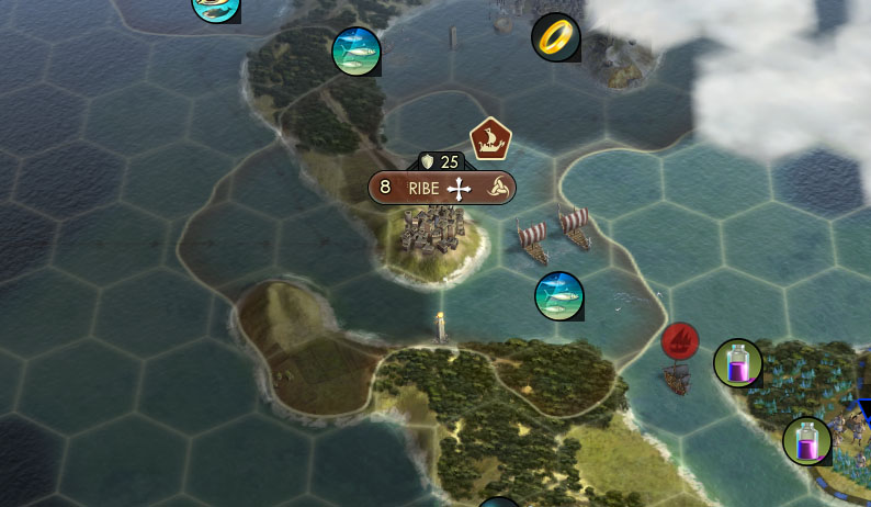 This Civlization V city is build near a lot of ocean tiles