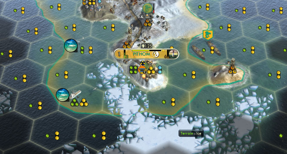 This Civilization V city is build near a lot of snow and ice tiles. These tiles have no gains exept the possibility to build a mine