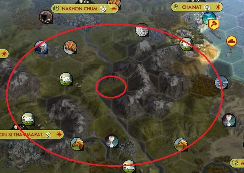 Civilization V building a city near mountains can have its benefits, but building a city in the center of them is not