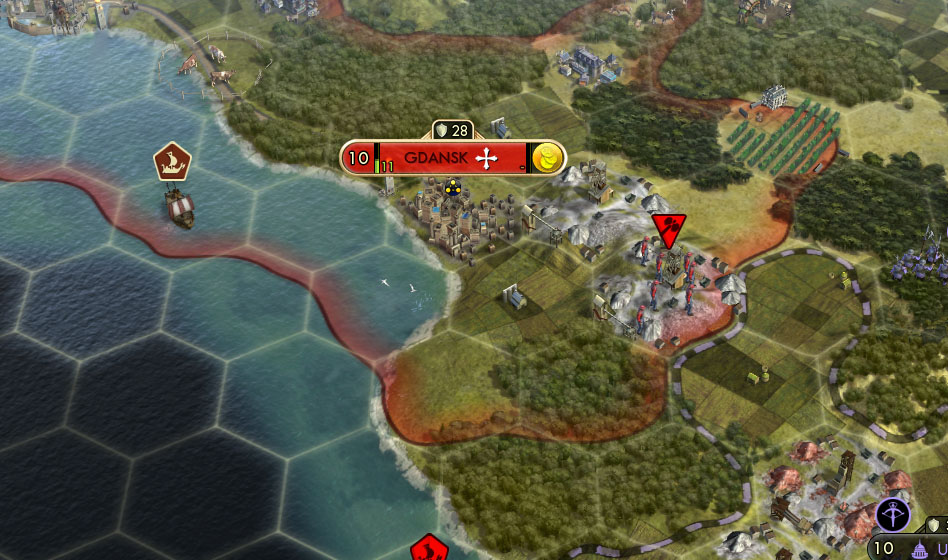 This Civlization V city is build near the cost with not too many ocean tiles