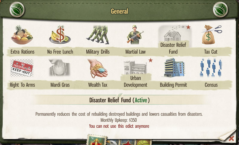 tropico5-edict-disaster-relief-fund
