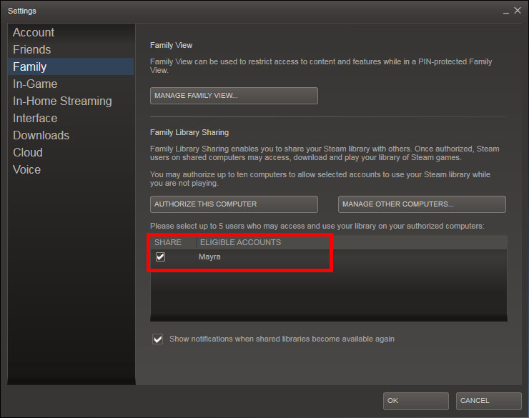 Select the friend you want to give acces to your games in Steam