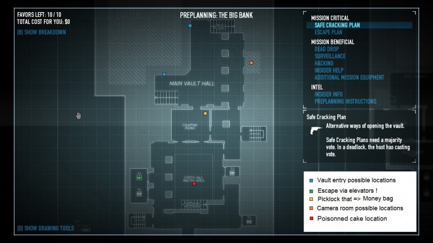 payday2 big bank heist guide vault area ground floor map