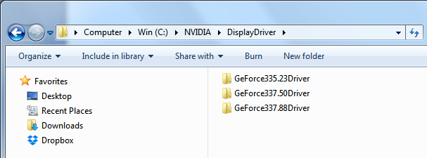 Screenshot of the nvidia temporary driver installation folder