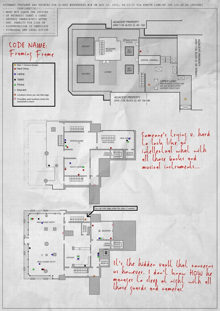 Map of the Framing Frame day 3 Payday 2 heist. Especially useful when you want to completed this heist on stealth.