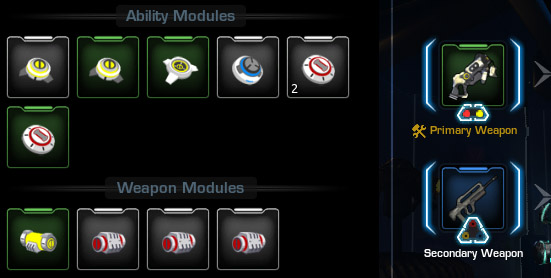 Equiping Ability Modules and Weapon Modules in Firefall