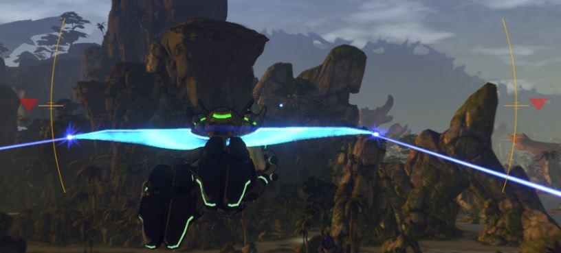 An example of bad gliding in Firefall. You will risk falling down when you are not using your glider correcly.