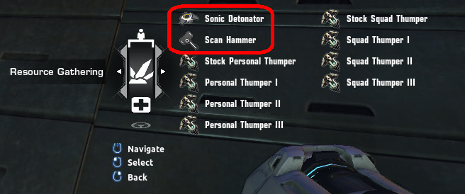Sonic Detonator en Scan Hammer calldown menu in the Resource Gathering tab in Firefall
