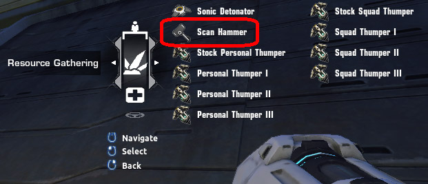 Scan Hammer caldown in the Resource Gathering menu in Firefall