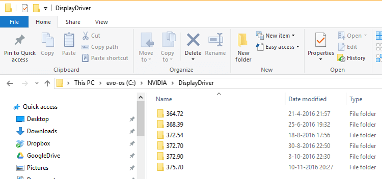 Screenshot of the nvidia temporary driver installation folder.