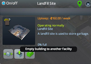 A landfill can only be relocated once it is completely empty. You need to empty the building to another facility.