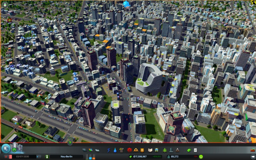 Cities Skylines with the graphic settings detaills on high.