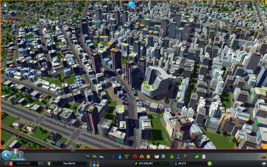 Cities Skylines with the graphic settings detaills on medium.