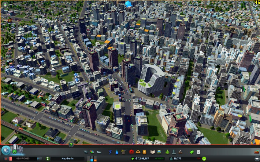 Cities Skylines with the graphic settings detaills on very high.