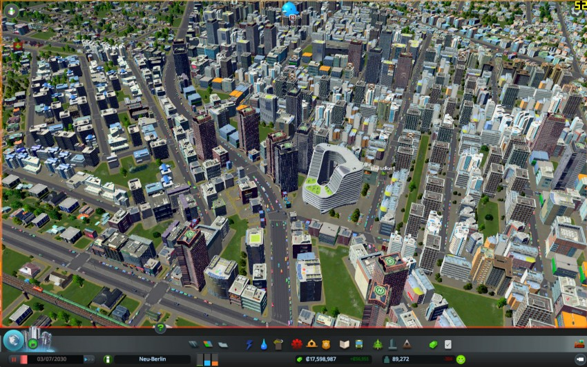 Cities Skylines with the graphic settings shadows disabled.