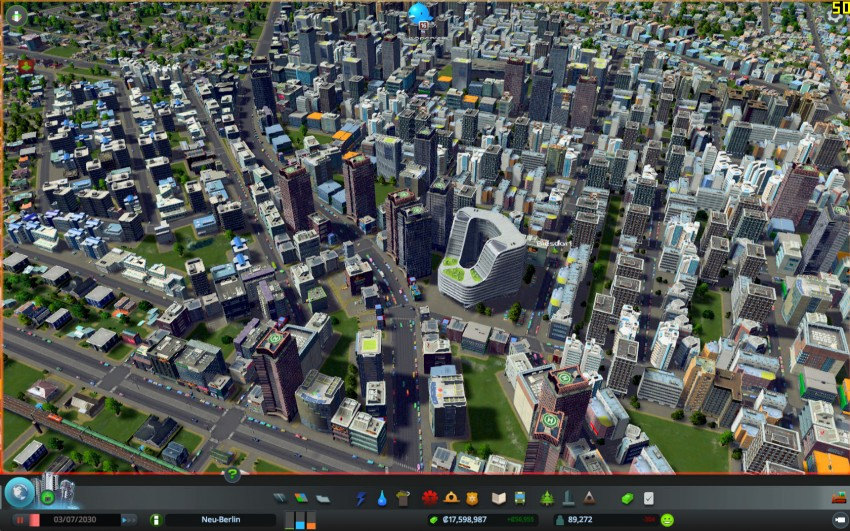 Cities Skylines with the graphic settings shadows quality on low.