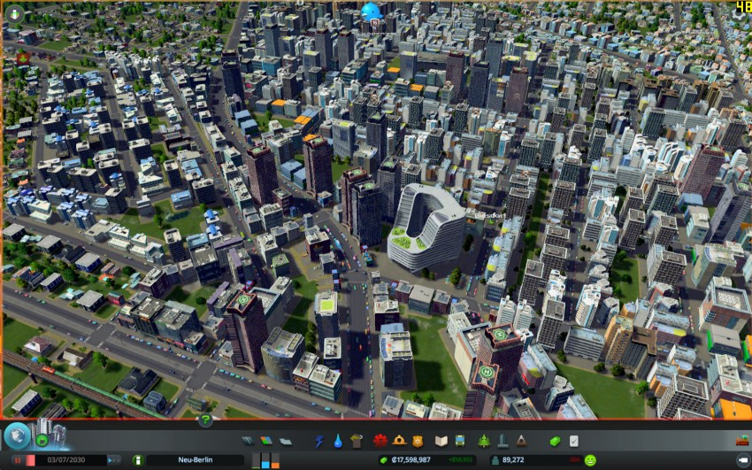 Cities Skylines with the graphic settings shadows quality on medium.