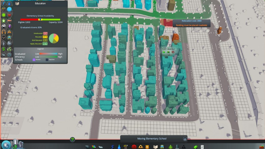 Education is important in Cities Skylines. This residential block is too far away from an elementary school.