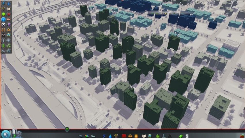 In Cities Skylines your residences can level. Low level buildings are white and high level buildings are dark green.