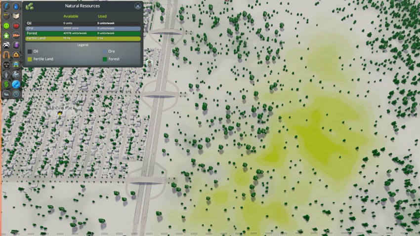 Once you have identified a suitable tile you need to find the area that has the resources. Use the Natural Resource overlay located on filter menu.